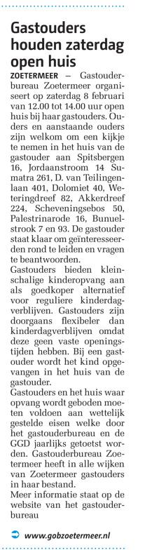 Streekblad - 6 februari 2014 Onderwerp: Open Huis bij gastouders in Zoetermeer.