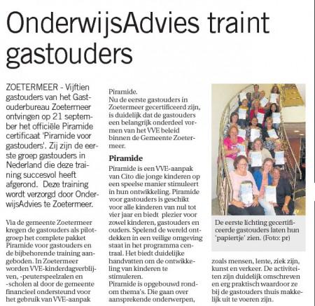 Zoetermeer Dichtbij - 26 september 2013 Onderwerp: VVE certificering gastouders in Zoetermeer
