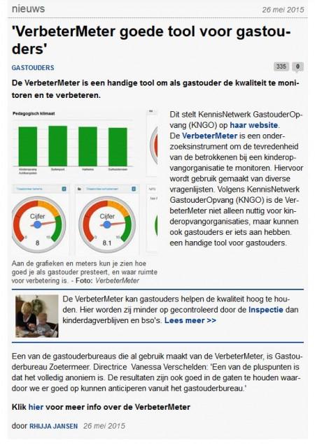 Kinderopvangtotaal.nl - 26 mei 2015 Onderwerp: Verbetermeter