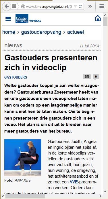 Kinderopvangtotaal.nl - 11 juli 2014 Onderwerp: Videoclips van gastouders op website GOB Zoetermeer