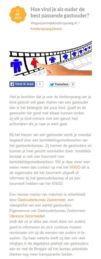Wegwijzerindekinderopvang.nl - 15 juli 2014 Onderwerp: Videoclips van gastouders op website GOB Zoetermeer