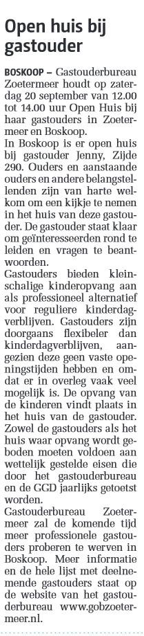 Gouwe Koerier - 17 september 2014 Onderwerp: Open Huis bij gastouderbureau Zoetermeer