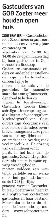 Streekblad - 18 september 2014 Onderwerp: Open Huis bij gastouderbureau Zoetermeer