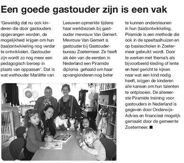 Zoetermeer Dichtbij - 13 februari 2014 Onderwerp: Wethouder op bezoek bij gastouder in Zoetermeer